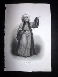 After Picart 1860 Print. The Mufti; Or Chief of the Mohammedan Law. Islam